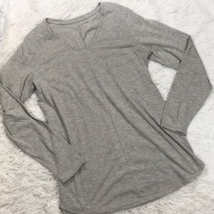 Apt 9 Beige Tan V Neck Tunic Long Sleeve Shirt